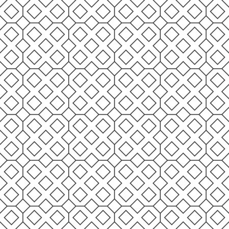 Abstract seamless diamond pattern, black and white outline of square. Design geometric texture for print. Linear style, vector illustration