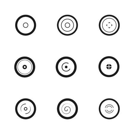 Set of black and white wheel discs shape. Linear icon flat style, vector illustration