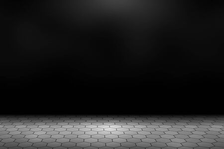 Spotlight shining down on gray concrete hexagonal paver blocks in dark road with copy space, abstract background