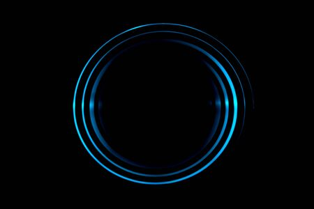 Light blue spiral with circle ring on black backdrop, abstract background