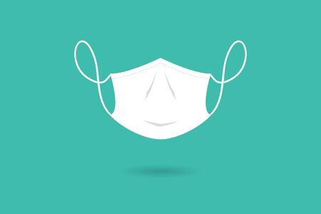 White protective medical face mask isolated on green background, vector illustration