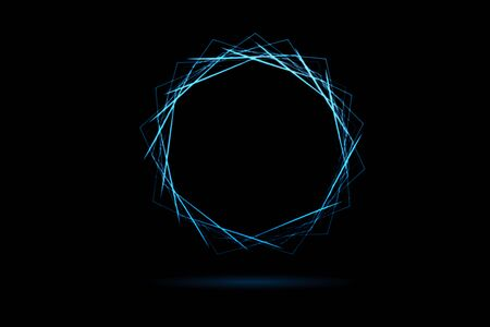 Abstract blue tunnel with wireframe polygonal element on black background Фото со стока