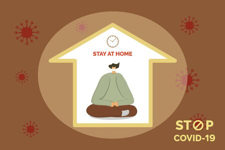Young man in home mask stay isolation at home for self quarantine. Man in medical mask stay sits  a meditation pose at home