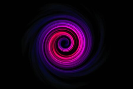 Abstract purple red spiral smoke with blue fog on black sky background