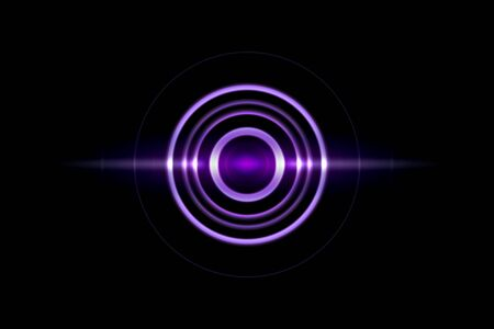 Purple spiral with light circle ring on black backdrop, abstract background