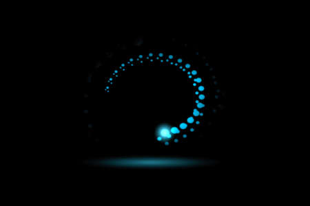 Blue fire comet light flying in circle. Shining lights in motion with particles on black sky, abstract background