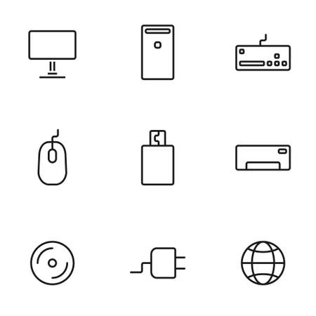 Set of computers line icons contains laptop, printer and more. 64x64 Pixel Perfect. vector illustration