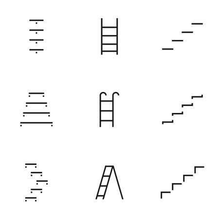 Set of staircase line icons contains steps stair, ladder and more. 64x64 Pixel Perfect. vector illustration
