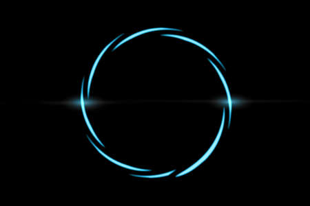 Abstract blue spiral line with circle ring on black backdrop, abstract background