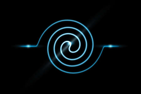 Abstract blue spiral line and swirl motion twisting circles with light effect on black background Фото со стока