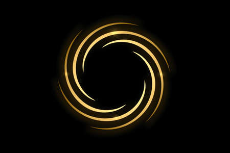 Gold spiral with circle ring on black backdrop, abstract background