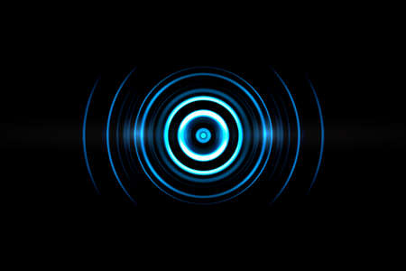 Abstract neon light blue circle effect with sound waves oscillating on black background