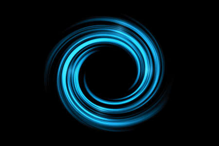 Abstract black holes in space or spiral tunnel with light blue fog on black background Фото со стока