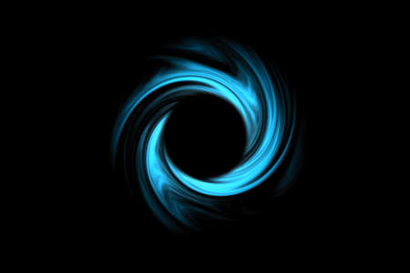 Abstract black holes in space with blue spiral cloud on black background