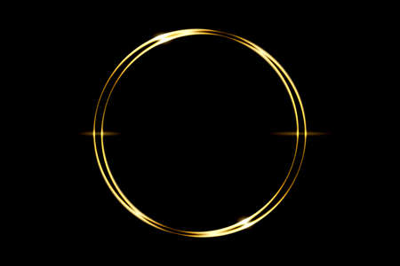 Glowing gold circle ring with light effect on black backdrop, abstract background Фото со стока