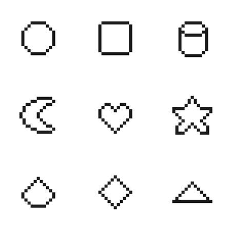 Set of black and white geometric shape pixel art collection, vector illustration