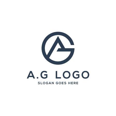 A.G logo concept, initial AG vector illustration