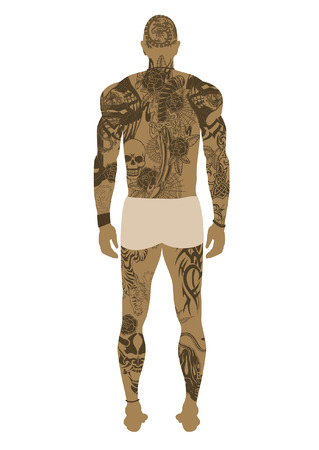 Vector illustraion of a male tattooed body from behind Illustration