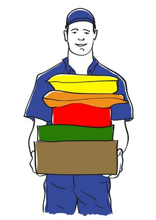 Sketchy vector illustration of a parcel delivery man Illustration