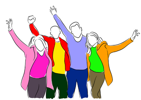 Sketchy vector illustration of a group of young people cheering