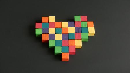 Heart mosaic wooden cubes
