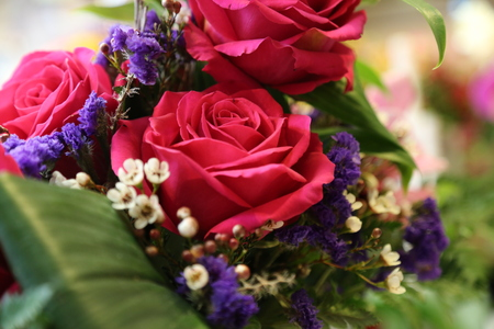 Bouquet roses arranged shallow depth of filed