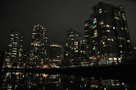 Background night urban landscape Vancouver