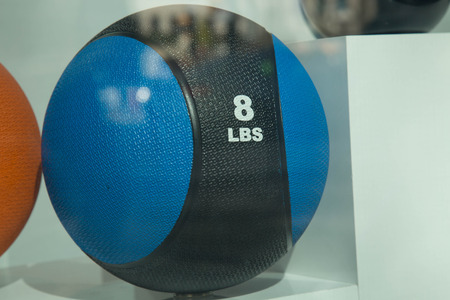 kettle bell: Blue black weightball no people Stock Photo