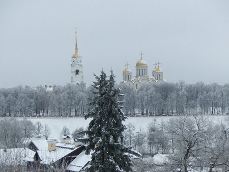 Winter panorama Russian architecture 12 century orthodox cathedral  Stock Photo