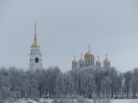 Background landmark city orthodox dome Vladimir  snow panorama