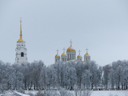 Landmark city Vladimir Russian winter wide shot panorama