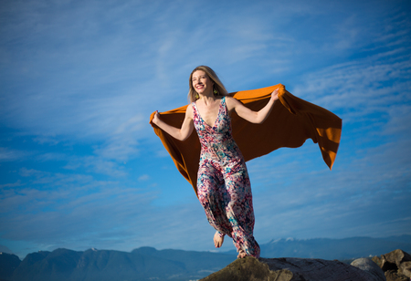 Concept motivation ready to fly happy female Stock Photo