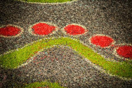 Artwork raw rice grains asphalt pattern concept creativity