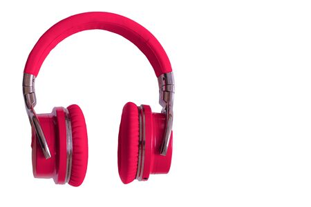 Red headphones isolated  music audio equipment copy space Standard-Bild