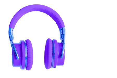 Purple headphones isolated  music audio equipment copy space