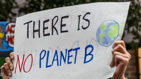 Planet B climate change march banner