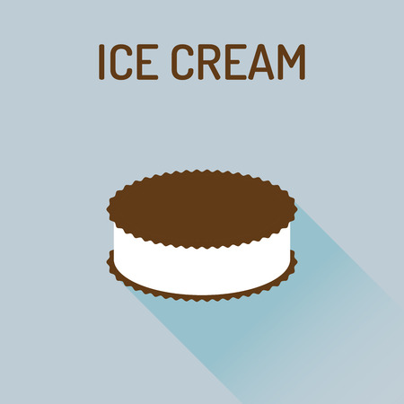gelato: Ice cream flat icon with a shadow, Vector flat gelato icon. Vector illustration