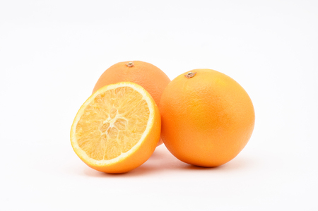 Orange on white background.Isolated.Slice.