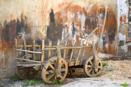 The cart for agricultural work.Used in the pre-automotive times vehicile.Ecologically clean.They are made of wood and the iron details.The remaining force was horses,donkeys,buffaloes.