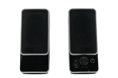 Speakers system  for listening to sound on a white background Stock Photo