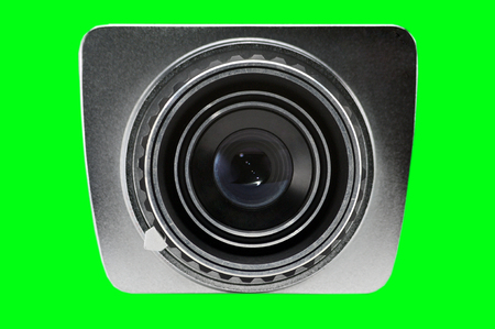 Lens of a retro camera working on photographic film.Photo camera Stock Photo