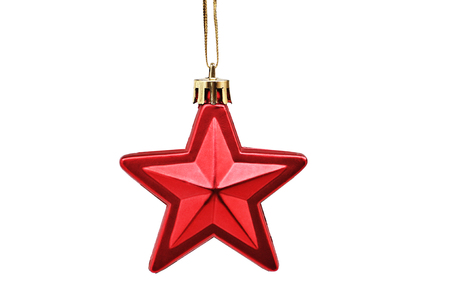 Christmas & New Year  red five-rayed star against white isolated background