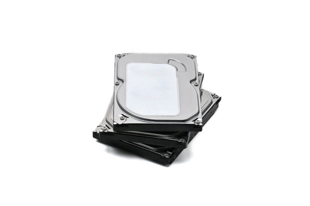Internal parts of a hard disk on an isolated white background.