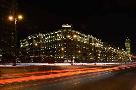 Light on the night Heydar Aliyev Avenue.Baku,Azerbaijan Фото со стока
