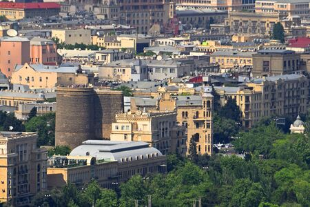 View of architecture close-up of the old city of Baku. Maidens Tower.