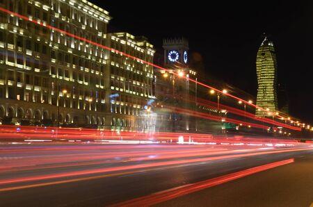 Light on the night Heydar Aliyev Avenue.Baku,Azerbaijan Stok Fotoğraf