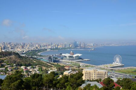 The capital of modern Azerbaijan, located on the shores of the Caspian Sea, the city of Baku Stok Fotoğraf