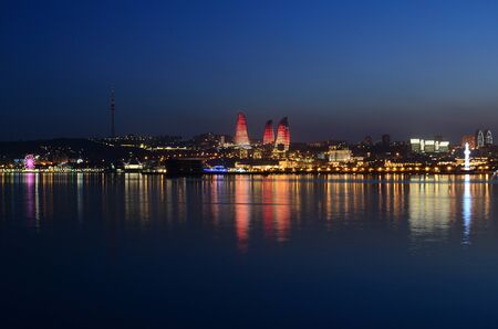 Panorama of night Baku with a view from the boulevard.Azerbaijan