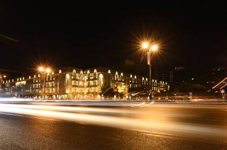 Light on the night Yusif Safarov street.Baku.Azerbaijan Stok Fotoğraf