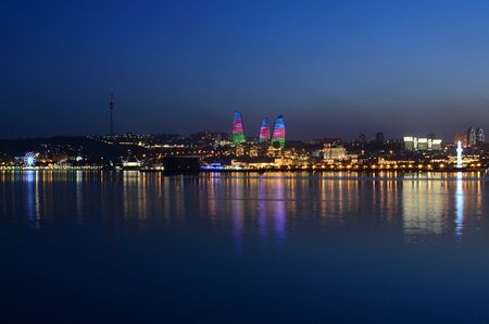 Panorama of night Baku with a view from the boulevard.Azerbaijan